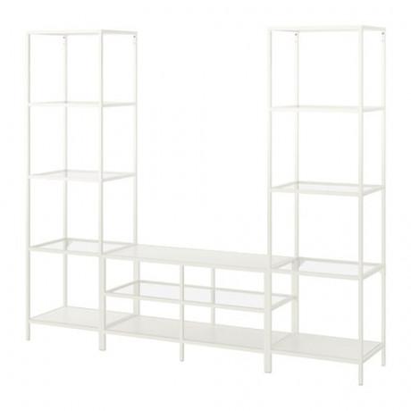 Шкаф для ТВ, комбинация ВИТШЁ белый, стекло фото 4
